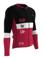 Ride For Life Bisiklet Forması (Bordo) - Racing Fit - Uzun Kol