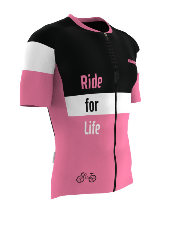 Ride For Life Bisiklet Forması (Pembe) - Racing Fit - Kısa Kol